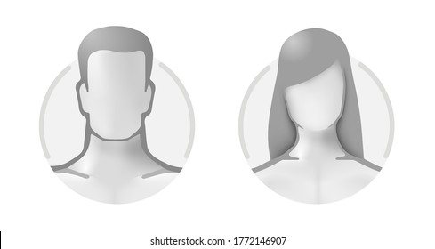 3d avatar profile of a man and a woman in a circle. Volumetric gray userpic of healthy people. Anonymous default users are men and women bare.