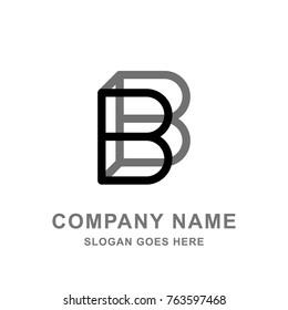 3D B Letter Simple Black Logo Vector