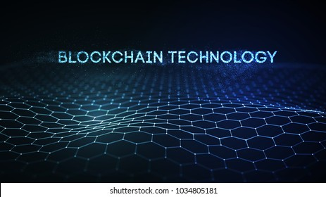 3D Background blockchain technology vector illustration