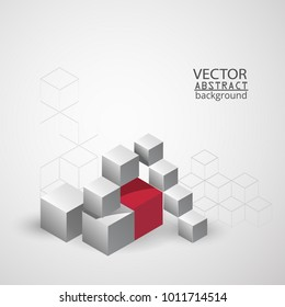 3d background cube geometry, business background.