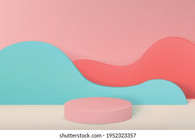 3d background with an empty pedestal for product demonstration in a minimalist style with walls in the form of waves in pastel colors. Volumetric cylinder with a platform for advertising.