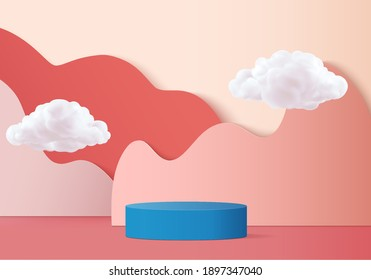3d background free hand product valentine podium in love platform. cloud background vector 3d rendering with cloud podium. Blue podium to show cosmetic products 3d. Stage romance showcase on pedestal