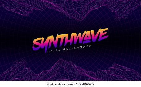 3D Background Illustration 80s Style. Synthwave, retrowave background.
