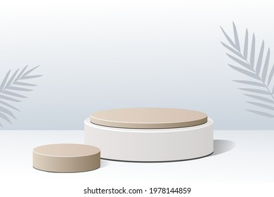 3D background product with white luxury gold brown podium. Display scene product for skincare, makeup, and toiletries.  3D illustration with geometric shapes and  tropical leaf