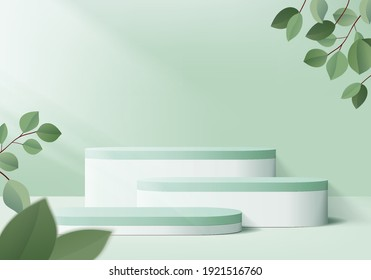 3d background products display podium scene with geometric platform. background vector 3d rendering podium. stand display cosmetic product 3d background. Stage product on pedestal display steps green