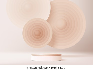 3d background products display podium scene with geometric platform. background vector 3d render podium. stand cosmetic products. Stage background pedestal display pink beige product podium platform