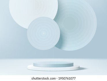 3d background products display podium scene with geometric platform. backdrop background vector 3d render with podium. stand to show cosmetic products. Stage showcase on pedestal display blue backdrop - Shutterstock ID 1950761077