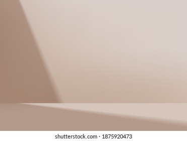 3d background products minimal podium scene with geometric platform. background vector 3d rendering with podium. stand to show cosmetic products. Stage showcase on pedestal modern studio brown pastel - Shutterstock ID 1875920473