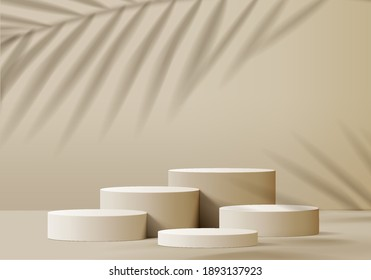 3d background products minimal podium scene with beige pedestal. display background vector 3d rendering with podium. stand to show cosmetic products 3d. Stage showcase on pedestal studio beige podium