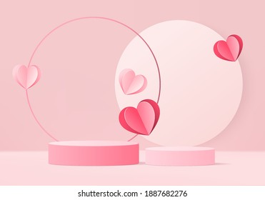 3d background products valentine podium in love platform. heart background vector 3d rendering with cylinder. podium stand to show cosmetic product. Stage romance showcase on pedestal pink love studio - Shutterstock ID 1887682276