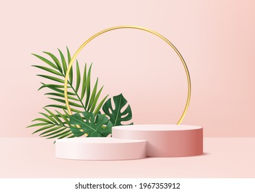 3d background summer product display podium scene with green leaf geometric platform. background vector 3d render with podium. stand cosmetic product summer. Stage on pedestal display pink 3d summer