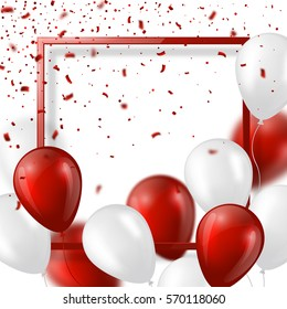 3d balloons with confetti and frame. Festive illustration for holiday party design, blur effect, red and white color. Vector illustration. EPS 10.