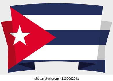 A 3D Banner with the Country Flag of  Cuba