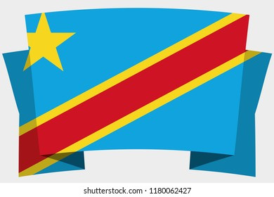 A 3D Banner with the Country Flag of  Democratic Republic of Congo