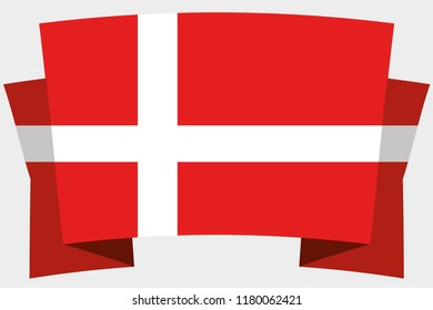 A 3D Banner with the Country Flag of  Denmark