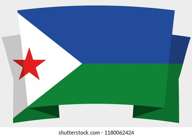 A 3D Banner with the Country Flag of  Djibouti