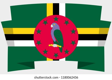 A 3D Banner with the Country Flag of  Dominica