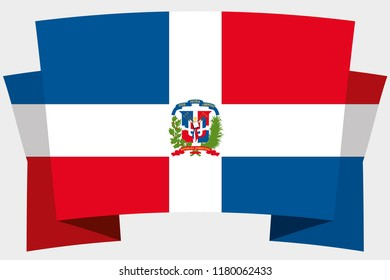 A 3D Banner with the Country Flag of  Dominican Republic