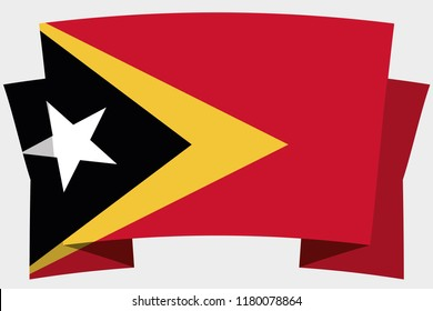 3D Banner with the Country Flag of East Timor