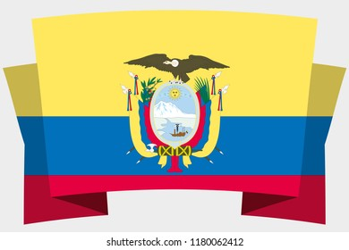 A 3D Banner with the Country Flag of  Ecuador