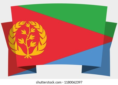 A 3D Banner with the Country Flag of  Eritrea