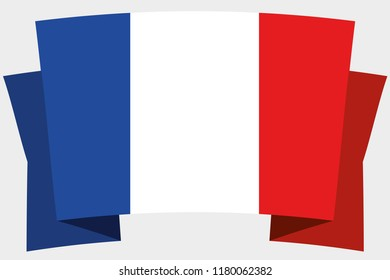 A 3D Banner with the Country Flag of  France