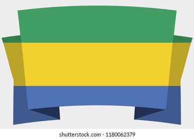 A 3D Banner with the Country Flag of  Gabon