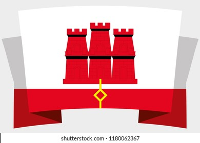 A 3D Banner with the Country Flag of  Gibraltar