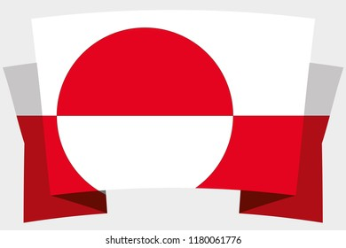 A 3D Banner with the Country Flag of  Greenland