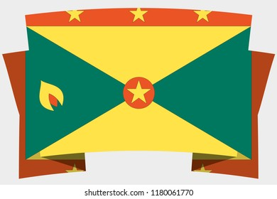A 3D Banner with the Country Flag of  Grenada
