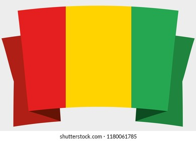 A 3D Banner with the Country Flag of  Guinea