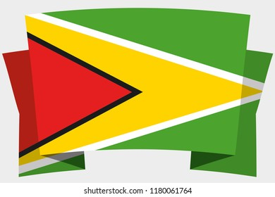 A 3D Banner with the Country Flag of  Guyana
