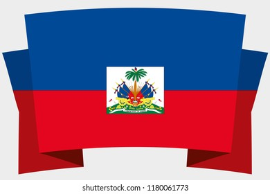 A 3D Banner with the Country Flag of  Haiti