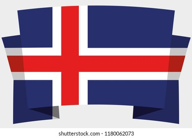 A 3D Banner with the Country Flag of  Iceland