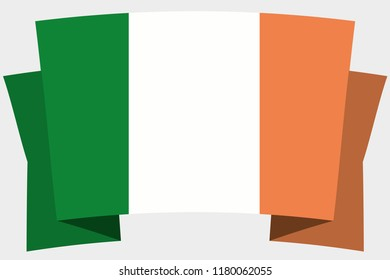 A 3D Banner with the Country Flag of  Ireland