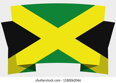 A 3D Banner with the Country Flag of  Jamaica