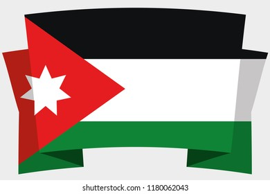 A 3D Banner with the Country Flag of  Jordan