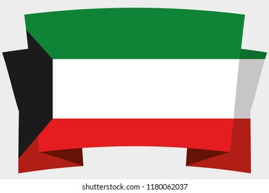 A 3D Banner with the Country Flag of  Kuwait