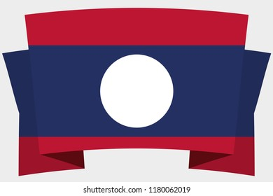 A 3D Banner with the Country Flag of  Laos