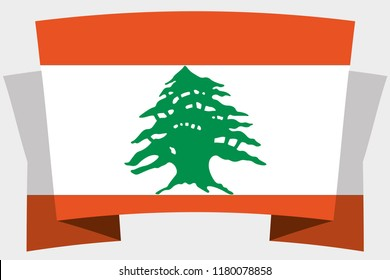 3D Banner with the Country Flag of Lebanon