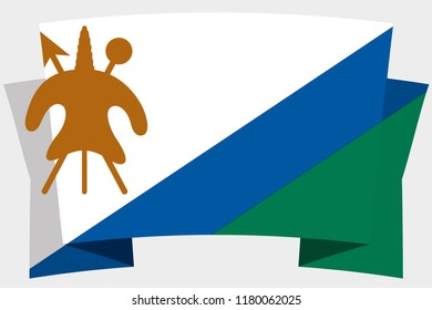 A 3D Banner with the Country Flag of  Lesotho