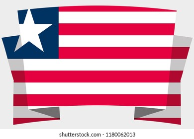 A 3D Banner with the Country Flag of  Liberia