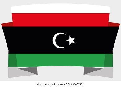 A 3D Banner with the Country Flag of  Libya