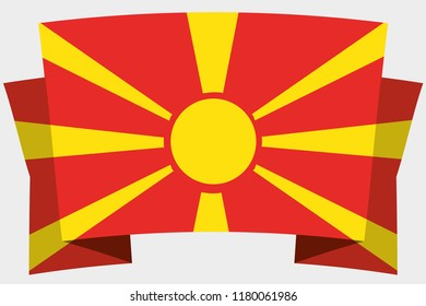A 3D Banner with the Country Flag of  Macedonia