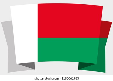 A 3D Banner with the Country Flag of  Madagascar