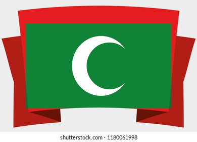 A 3D Banner with the Country Flag of  Maldives
