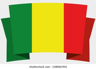 A 3D Banner with the Country Flag of  Mali