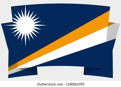 A 3D Banner with the Country Flag of  Marshall Islands