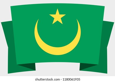 A 3D Banner with the Country Flag of  Mauritania