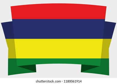 A 3D Banner with the Country Flag of  Mauritius
